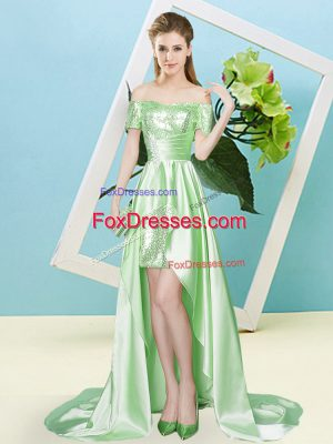 Custom Fit Empire Elastic Woven Satin and Sequined Off The Shoulder Short Sleeves Sequins High Low Lace Up Prom Dress