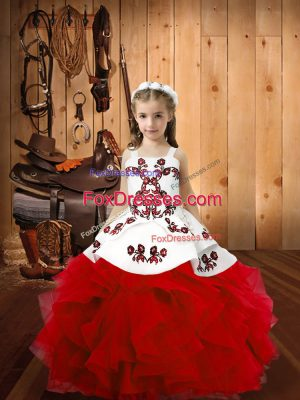 Floor Length Red Pageant Dress for Teens Straps Sleeveless Lace Up