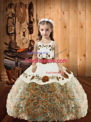 Adorable Fabric With Rolling Flowers Straps Sleeveless Lace Up Embroidery and Ruffles Little Girls Pageant Dress in Multi-color