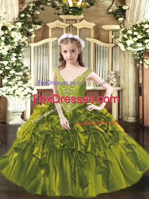 Cheap Floor Length Ball Gowns Sleeveless Olive Green Pageant Dress Lace Up