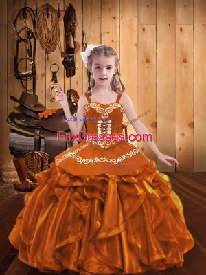 Floor Length Lace Up Little Girls Pageant Dress Orange for Party and Sweet 16 and Quinceanera and Wedding Party with Embroidery and Ruffles