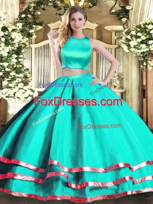 Super Two Pieces Vestidos de Quinceanera Turquoise High-neck Tulle Sleeveless Floor Length Criss Cross