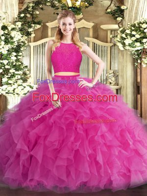Unique Hot Pink Vestidos de Quinceanera Military Ball and Sweet 16 and Quinceanera with Ruffles Scoop Sleeveless Zipper