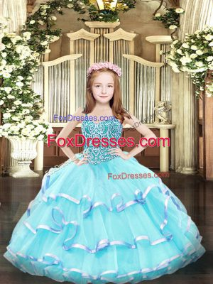 Aqua Blue Straps Lace Up Beading and Ruffled Layers Little Girls Pageant Dress Sleeveless