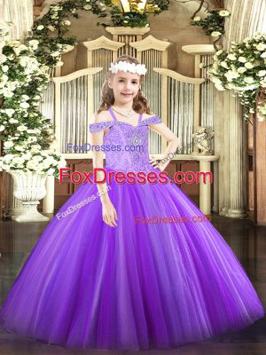 Most Popular Lavender Tulle Lace Up Off The Shoulder Sleeveless Floor Length Little Girls Pageant Gowns Beading