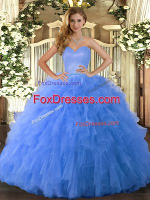 Blue Sweetheart Lace Up Ruffles Quinceanera Gowns Sleeveless