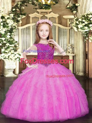 Custom Fit Scoop Sleeveless Organza Little Girl Pageant Dress Beading and Ruffles Zipper