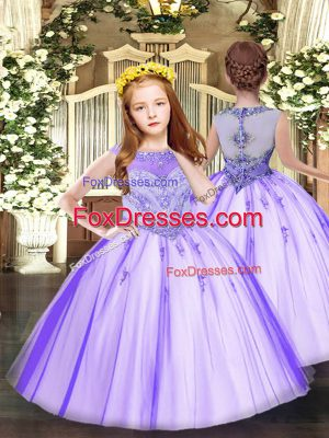 Beautiful Lavender Scoop Zipper Beading and Appliques Little Girls Pageant Dress Wholesale Sleeveless
