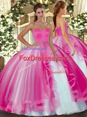 Customized Hot Pink Sweetheart Neckline Beading Quinceanera Gowns Sleeveless Lace Up