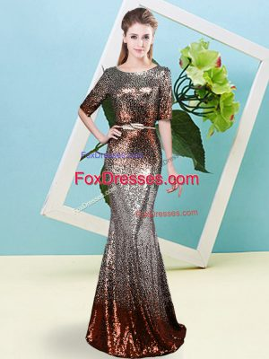 Pretty Multi-color Mermaid Sequins and Belt Prom Evening Gown Zipper Sequined Half Sleeves Floor Length