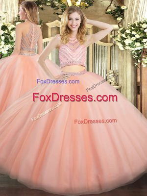 Custom Designed Peach Sleeveless Tulle Zipper 15 Quinceanera Dress for Military Ball and Sweet 16 and Quinceanera