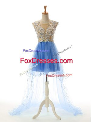 Custom Fit High Low A-line Sleeveless Baby Blue Dress for Prom Backless