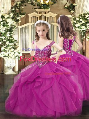 Elegant Fuchsia Sleeveless Beading and Ruffles Floor Length Pageant Dress for Teens
