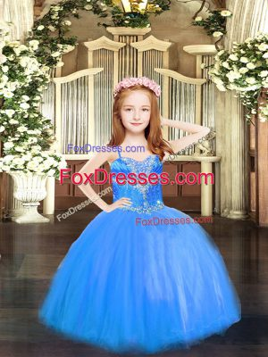 Elegant Blue Evening Gowns Party and Quinceanera with Beading Spaghetti Straps Sleeveless Lace Up