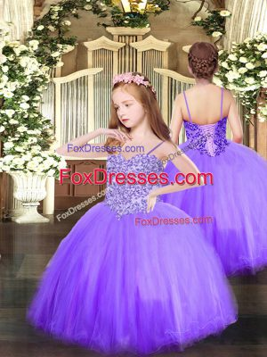 Spaghetti Straps Sleeveless Tulle Kids Formal Wear Appliques Lace Up