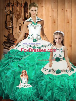 Green Halter Top Neckline Embroidery and Ruffles Sweet 16 Quinceanera Dress Sleeveless Lace Up