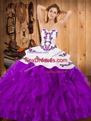 Top Selling Strapless Sleeveless Lace Up Ball Gown Prom Dress Eggplant Purple Satin and Organza