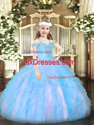 Ball Gowns Kids Pageant Dress Baby Blue Off The Shoulder Organza Sleeveless Floor Length Lace Up