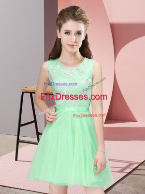 Popular Apple Green A-line Lace Bridesmaid Gown Side Zipper Tulle Sleeveless Mini Length