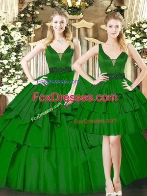 Spectacular Straps Sleeveless Lace Up Sweet 16 Quinceanera Dress Dark Green Organza