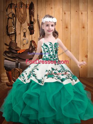 Hot Sale Turquoise Lace Up Straps Embroidery and Ruffles Kids Formal Wear Organza Sleeveless