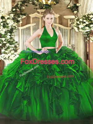 Green Zipper 15 Quinceanera Dress Ruffles Sleeveless Floor Length