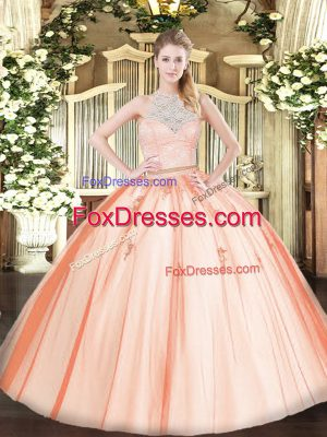 Orange Sleeveless Tulle Zipper Sweet 16 Dress for Military Ball and Sweet 16 and Quinceanera