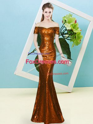 Pretty Floor Length Zipper Dress for Prom Rust Red for Prom and Party with Sequins