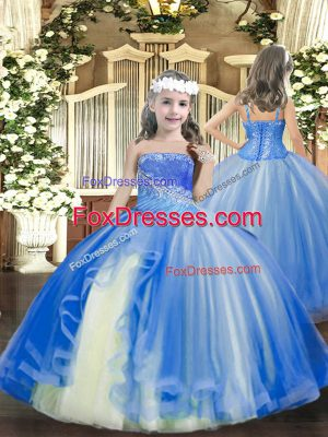 Baby Blue Ball Gowns Straps Sleeveless Tulle Floor Length Lace Up Beading Pageant Dress for Teens
