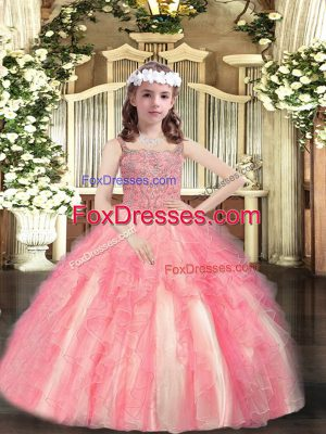 Beading and Ruffles Little Girls Pageant Dress Watermelon Red Lace Up Sleeveless Floor Length