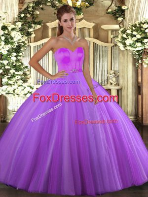 Nice Floor Length Lace Up 15th Birthday Dress Eggplant Purple for Military Ball and Sweet 16 and Quinceanera with Beading