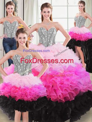 Multi-color Sweetheart Neckline Beading and Ruffles 15 Quinceanera Dress Sleeveless Lace Up