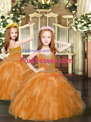 Most Popular Rust Red Lace Up Winning Pageant Gowns Beading and Ruffles Sleeveless Floor Length