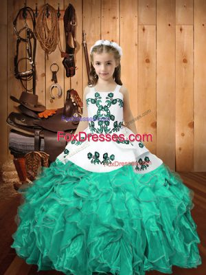 Turquoise Ball Gowns Organza Straps Sleeveless Embroidery and Ruffles Floor Length Lace Up Pageant Gowns For Girls