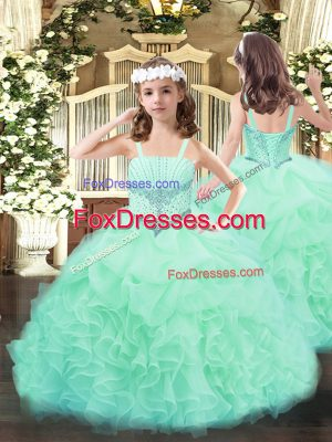 Most Popular Apple Green Sleeveless Organza Lace Up Little Girls Pageant Gowns for Party and Quinceanera