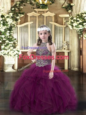 Cute Sleeveless Floor Length Beading and Ruffles Lace Up Pageant Dress Wholesale with Purple