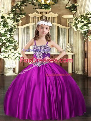 Fuchsia Ball Gowns Appliques Kids Formal Wear Lace Up Satin Sleeveless Floor Length