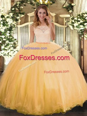 Glamorous Gold Clasp Handle Quinceanera Gowns Lace Sleeveless Floor Length