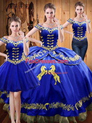 Custom Made Royal Blue Quince Ball Gowns Sweet 16 and Quinceanera with Embroidery Off The Shoulder Sleeveless Lace Up