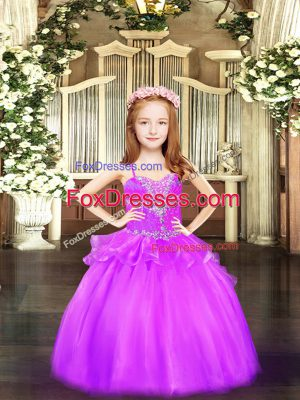 Sleeveless Floor Length Beading Lace Up Little Girls Pageant Dress with Lilac