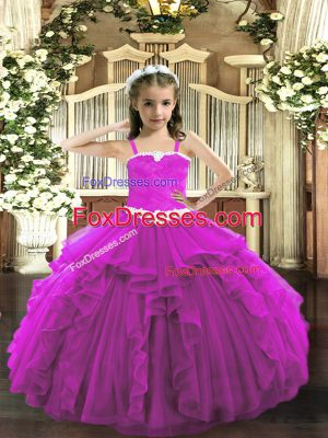 Floor Length Fuchsia Child Pageant Dress Tulle Sleeveless Appliques and Ruffles