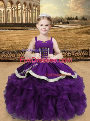 Ball Gowns Little Girls Pageant Dress Eggplant Purple Straps Organza Sleeveless Floor Length Lace Up