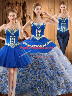 Popular Sweetheart Sleeveless Sweep Train Lace Up Quinceanera Dress Multi-color Satin and Fabric With Rolling Flowers