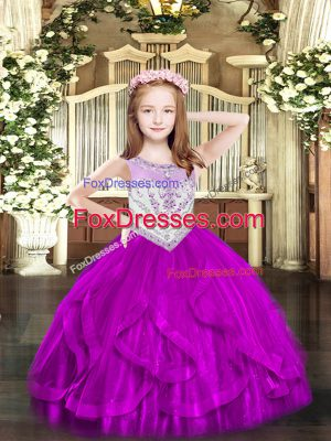 Cheap Floor Length Fuchsia Kids Pageant Dress Tulle Sleeveless Beading and Ruffles