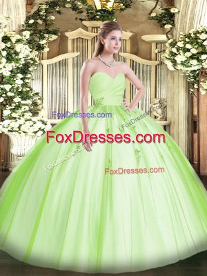 Yellow Green Lace Up 15 Quinceanera Dress Beading and Appliques Sleeveless Floor Length