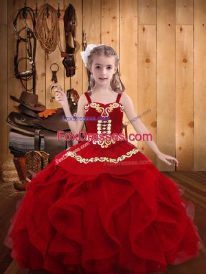 Floor Length Lace Up Pageant Gowns For Girls Wine Red for Sweet 16 and Quinceanera with Embroidery and Ruffles