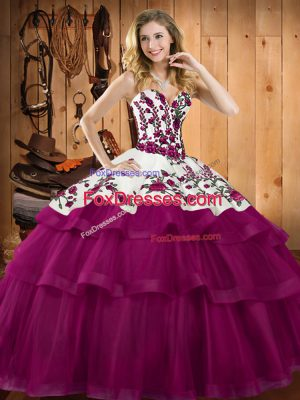 Perfect Sleeveless Embroidery Lace Up Sweet 16 Quinceanera Dress