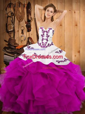 Fuchsia Ball Gowns Satin and Organza Strapless Sleeveless Embroidery and Ruffles Floor Length Lace Up Quinceanera Gowns