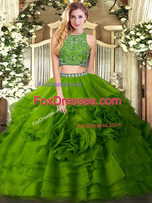 Unique Two Pieces Quinceanera Gowns Olive Green High-neck Tulle Sleeveless Floor Length Zipper