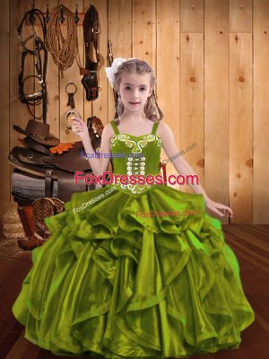 Ball Gowns Kids Formal Wear Olive Green Straps Organza Sleeveless Floor Length Lace Up
